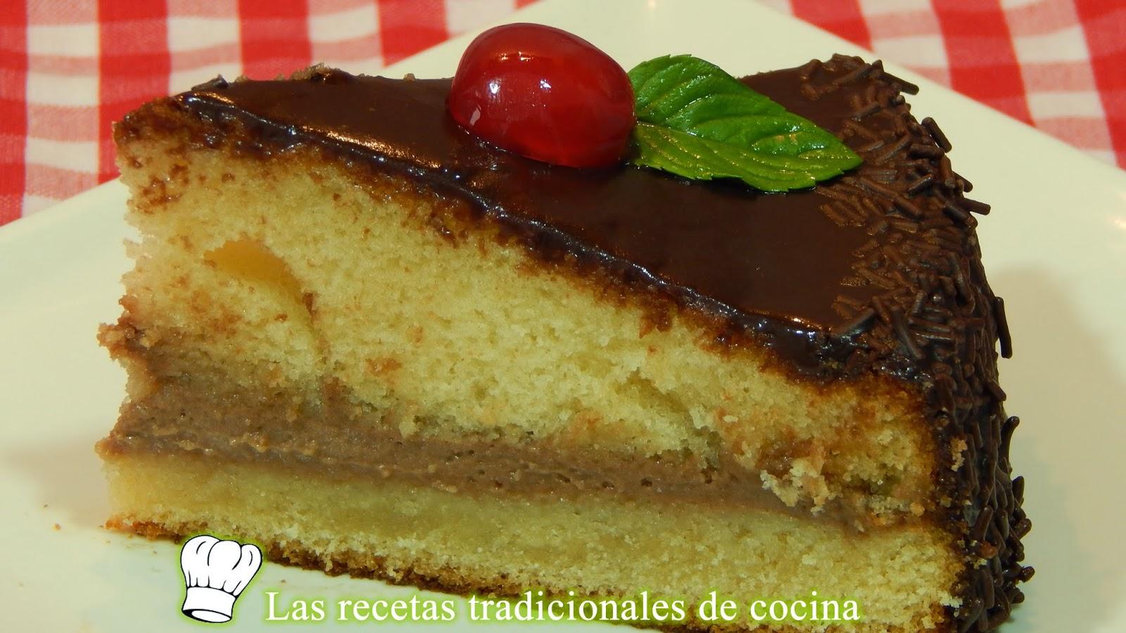 Receta de tarta de bizcocho y chocolate