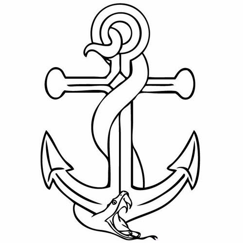 Anchor and snake tattoo stencil