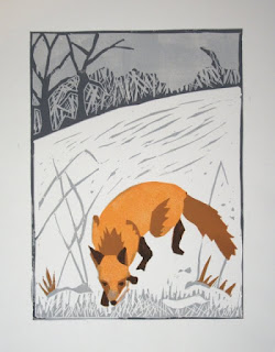 Fox reduction linocut print