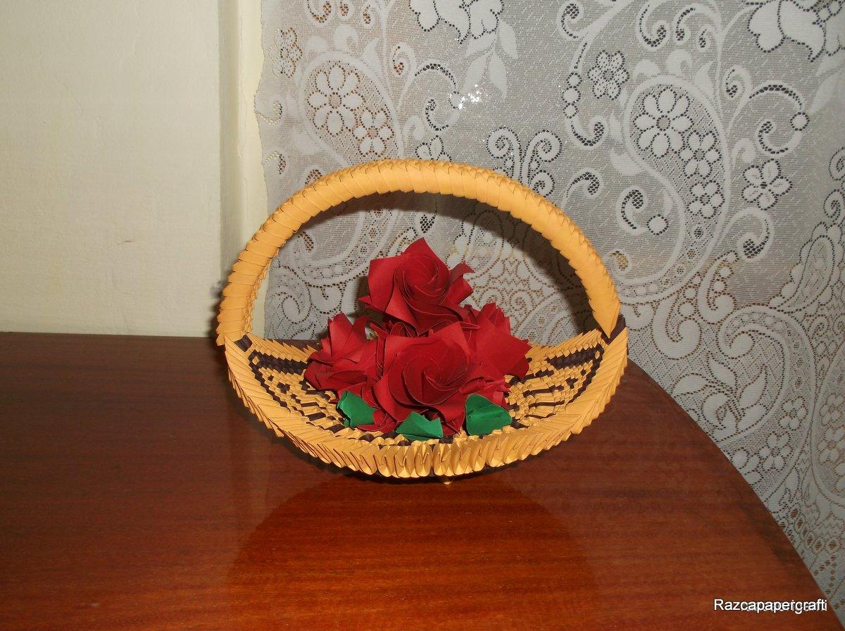 Razcapapercraft 3d Origami Basket With Flower