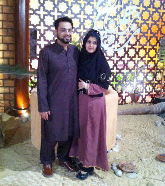 fashion mania aamir liaquat with his wife bushra aamir