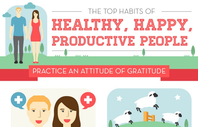 The top habits of healthy happy productive people infographic