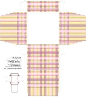 printable gift box- yellow plaid