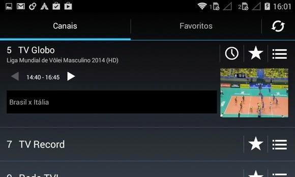O Guia de TV do Moto E. Basta clicar no ícone do relógio para agendar a gravação de um programa