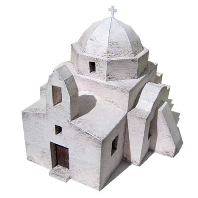 Greek Island Church Paper Model