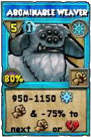 Wizard101 Level 100 Ice Spell - Abominable Weaver (Darkmoor Reward)
