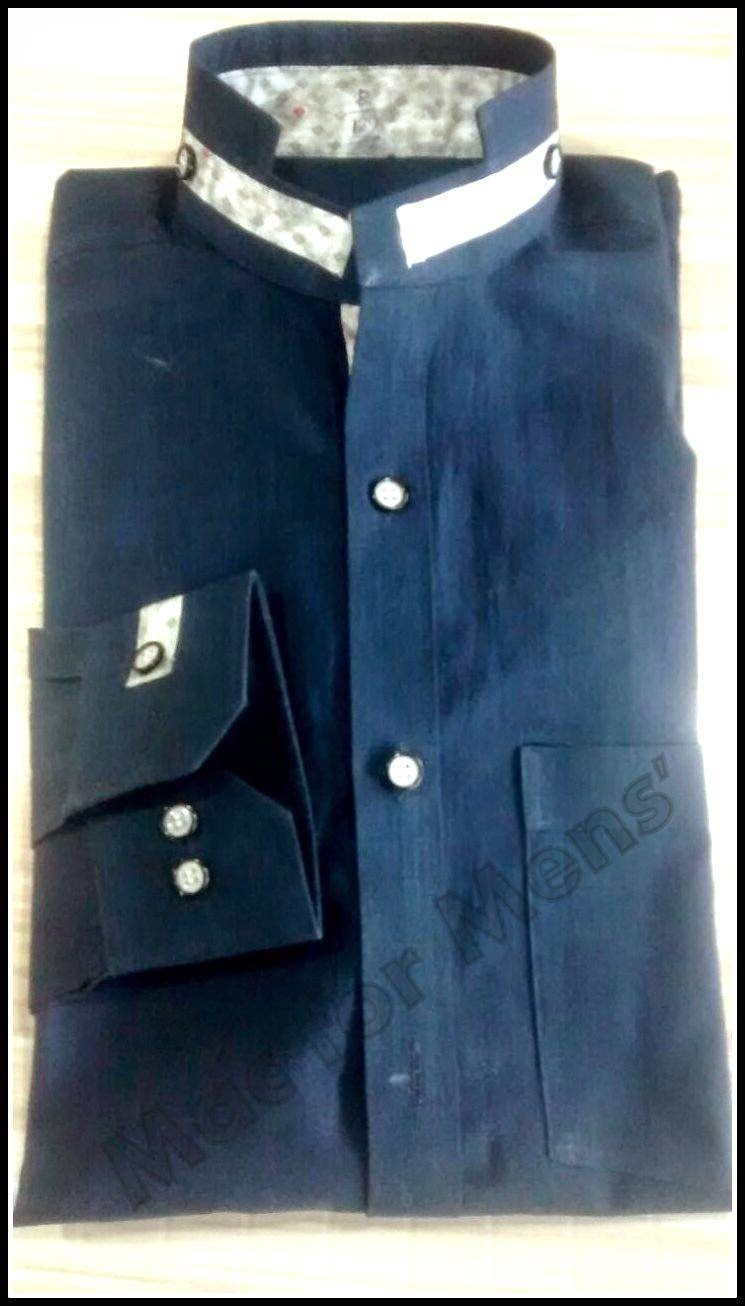 Shirt new design 2015 - Stylish Blue Shirt With Completly New Collar Design