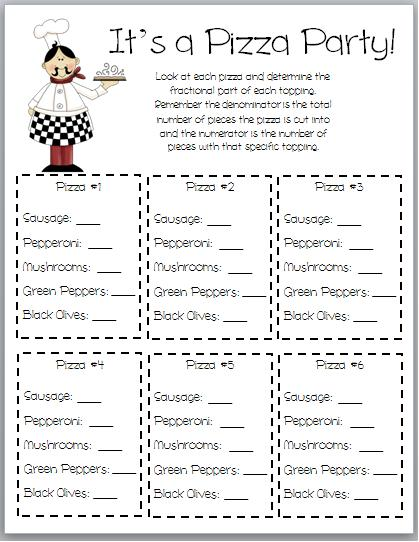 math worksheet : hoot hoot hooray! fraction overload : Pizza Fraction Worksheet