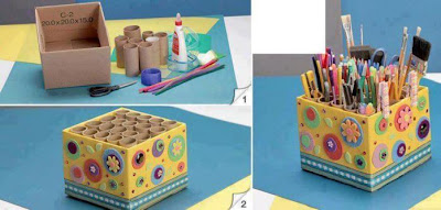 Reciclar cartón haciendo un organizador de útiles
