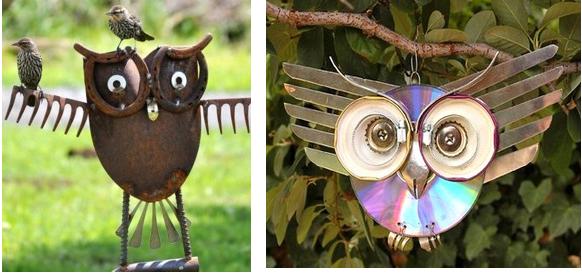 D co fait main d coration jardin jolies petites chouettes en r cup - Deco jardin avec objets de recup ...