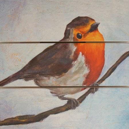 Schilderij op hout Roodborstje - Atelier for Hope Doetinchem Kunst kado artikelen en bijzondere schilderijen
