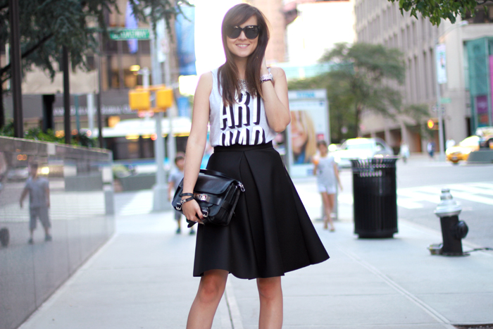 andy torres, stylescrapbook, style scrapbook, look of the day, nanette lepore, scuba skirt, fashion blog, alexander wang shoes
