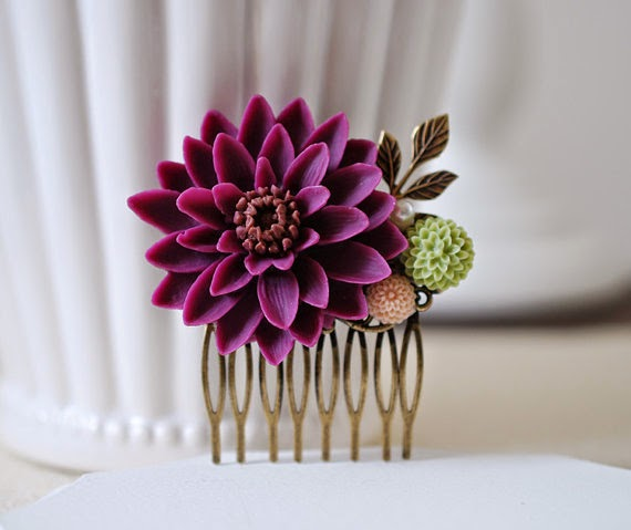 purple flower hair comb