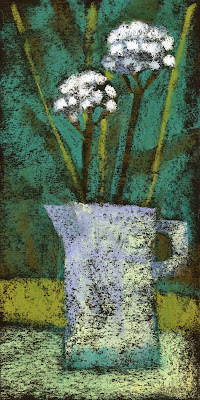 contemporary floral still life in pastel on paper by artist janine aykens two flowers in light blue pitcher