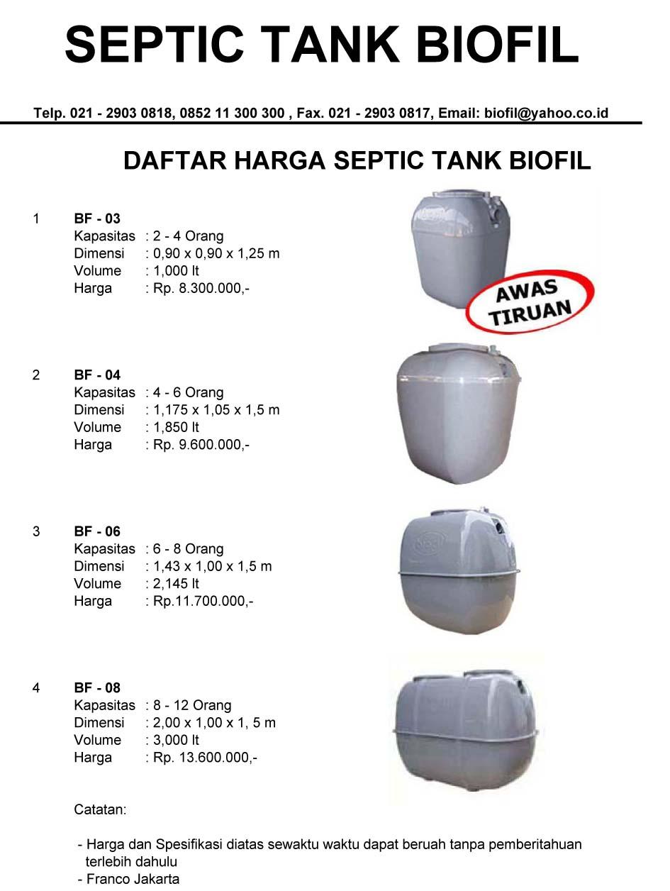 daftar harga septic tank biofil, induro, biofive, biogift, biotech, biomaster