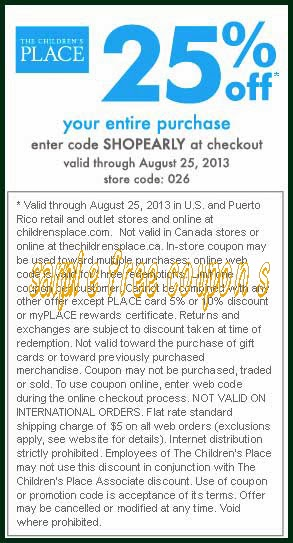 photograph regarding Childrens Place Printable Coupon known as Kids destination printable coupon - Tickets in the direction of fresh new york