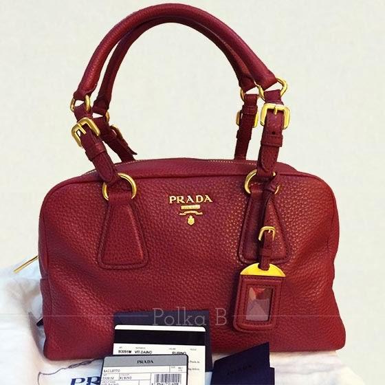Prada Soft Calf Leather Bauletto Bag B3091M | Polka B - Authentic ...
