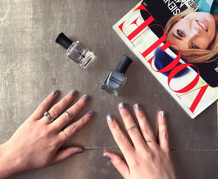 Fashion Over Reason NYE nails, Deborah Lippmann's Moon Rendezvous, Vogue magazine, Catbird NYC initial ring, VERAMEAT spine ring
