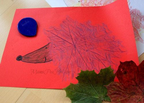 hedgehog picture made from leaf rubbings