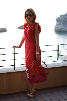 Versace dress, Cesare Paciotti sandals
