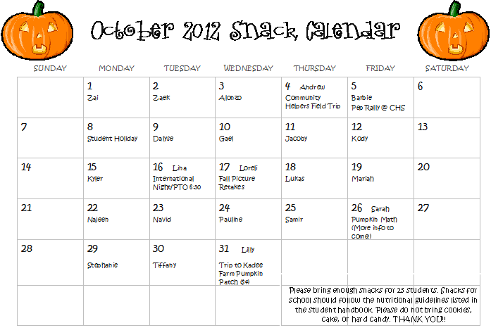October Calendar Kindergarten : Mrs pullen s kindergarten class october snack calendar