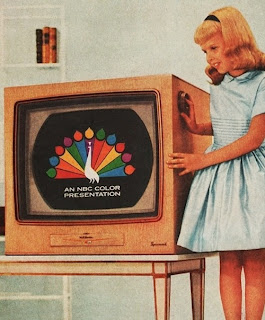 vintage TV set with colour picture