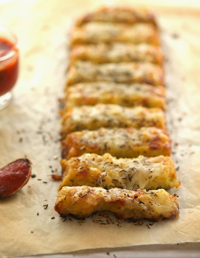 Cauliflower Crust Garlic Breadsticks