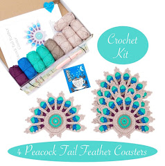 NEW: Crochet Kit for 4 Peacock Tail Feather Coasters