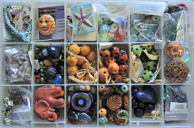 Porcelain artist beads, African ceramic beads, Czech glass beads and buttons