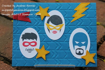 Kids birthday card using Calling All Heroes stamp set.