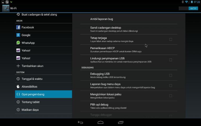 Cara mengaktifkan opsi pengembang atau developer option di Android 4.3