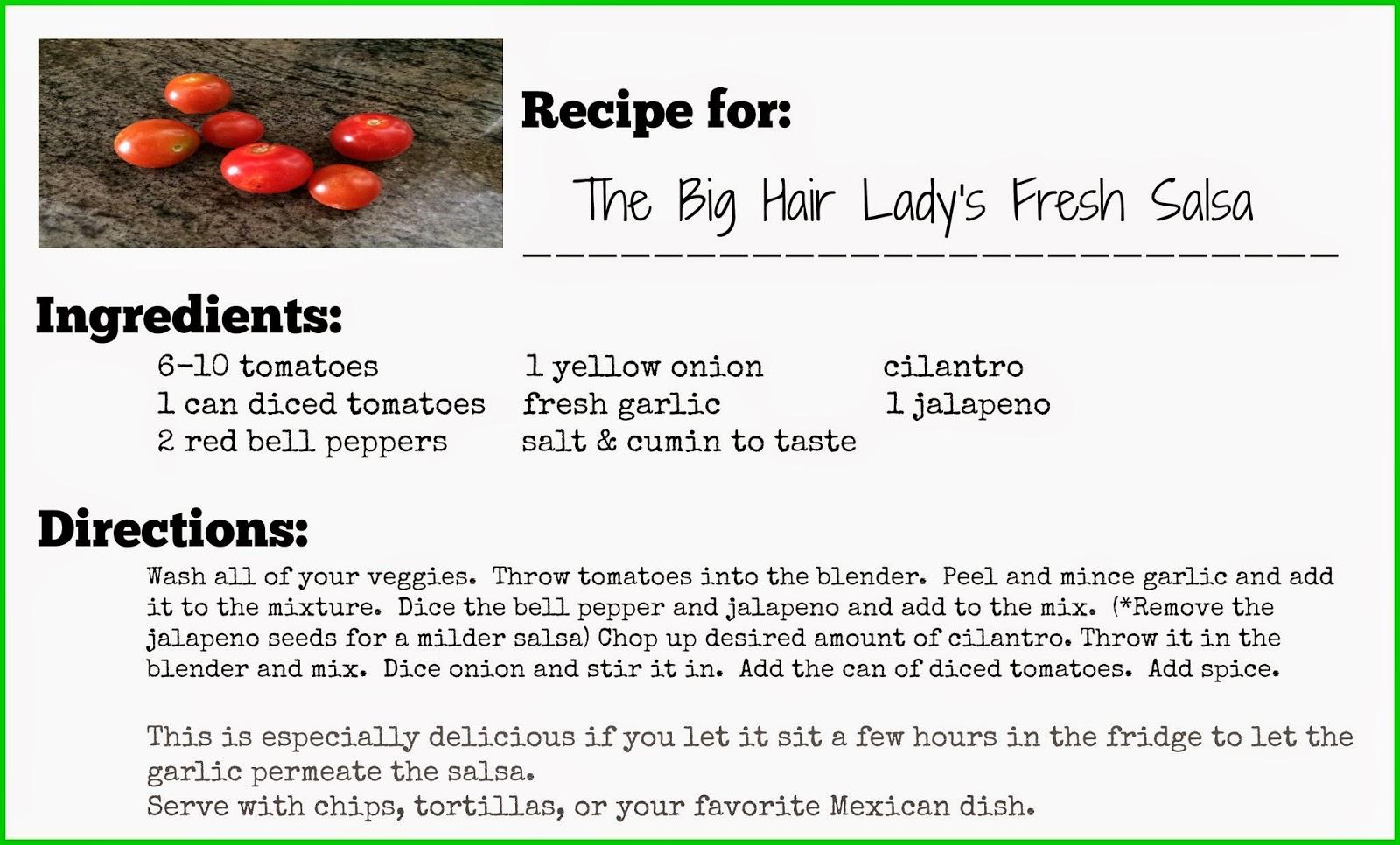 fresh summer salsa recipe card free printable