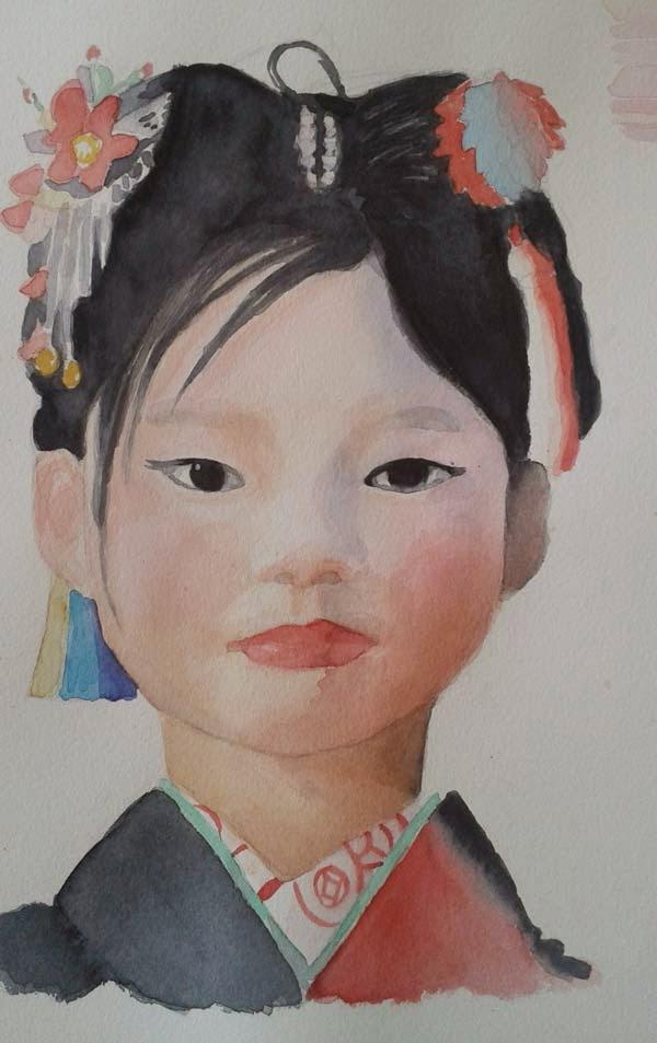 retrato de niña asiatica
