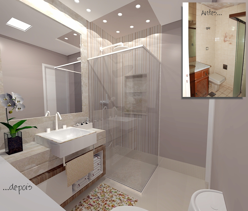 Gabinete Para Banheiro Reforma de banheiro apartamento pequeno -> Reforma Banheiro Pequeno Antes E Depois