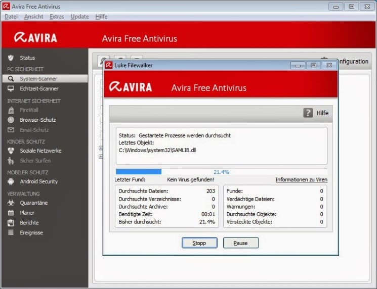 Avira free antivirus 2014_Scan