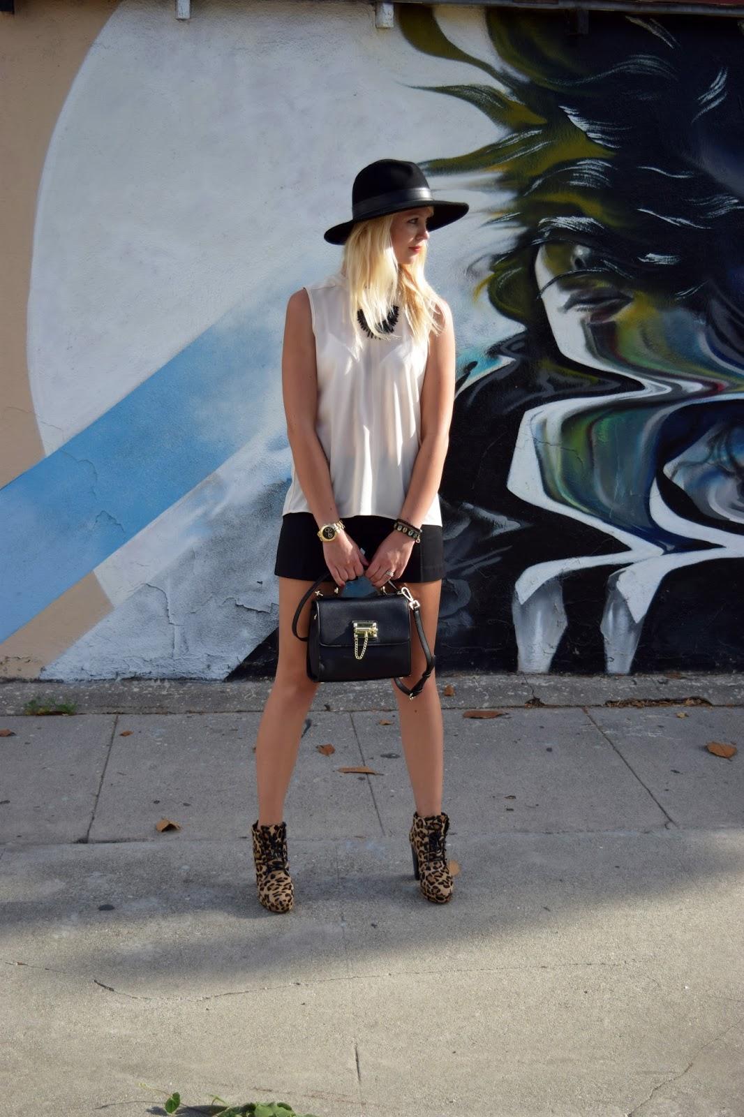 hat, shorts, leopard boots