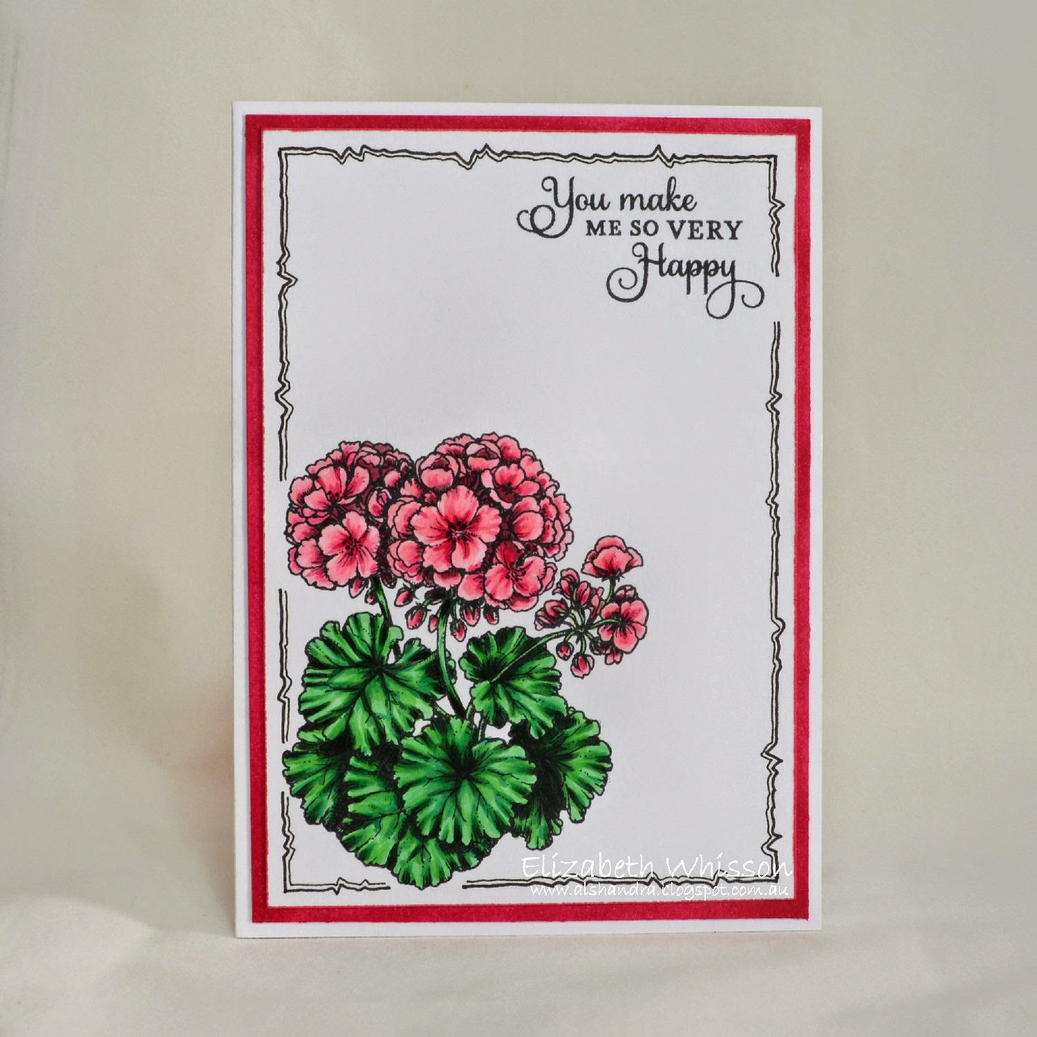 Elizabeth Whisson, Geraniums Take Two, Power Poppy, powerpoppy, copics, handmade card, doodles, doodling, copic multiliner