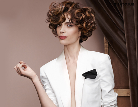 ретро прическа с къдрици - кестенява коса