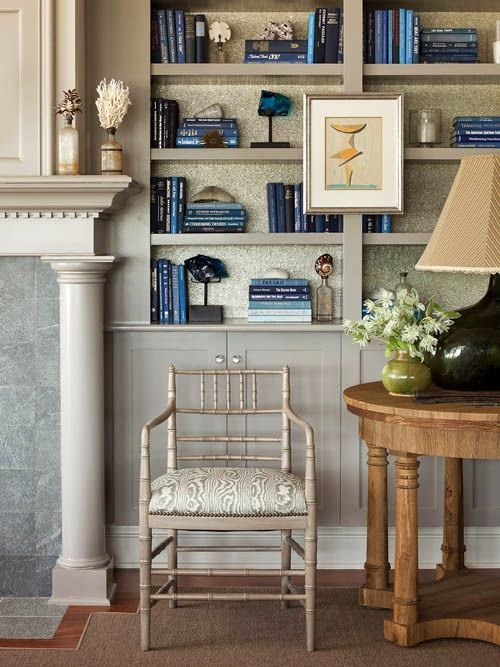 traditional bookcase styling in blue