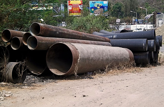 pipes outside a construction site