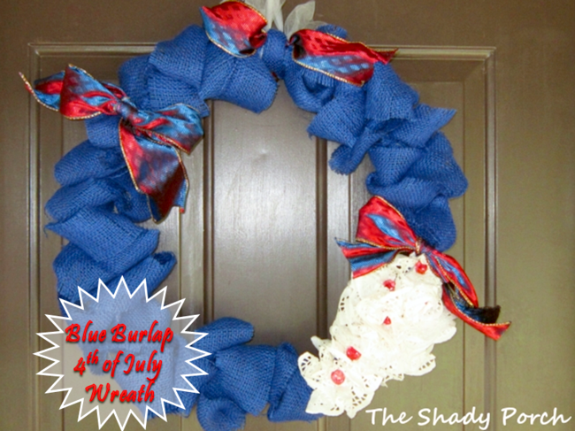 Red, White & Blue Burlap Wreath - a 4th of July Celebration #wreath #burlap #decorations