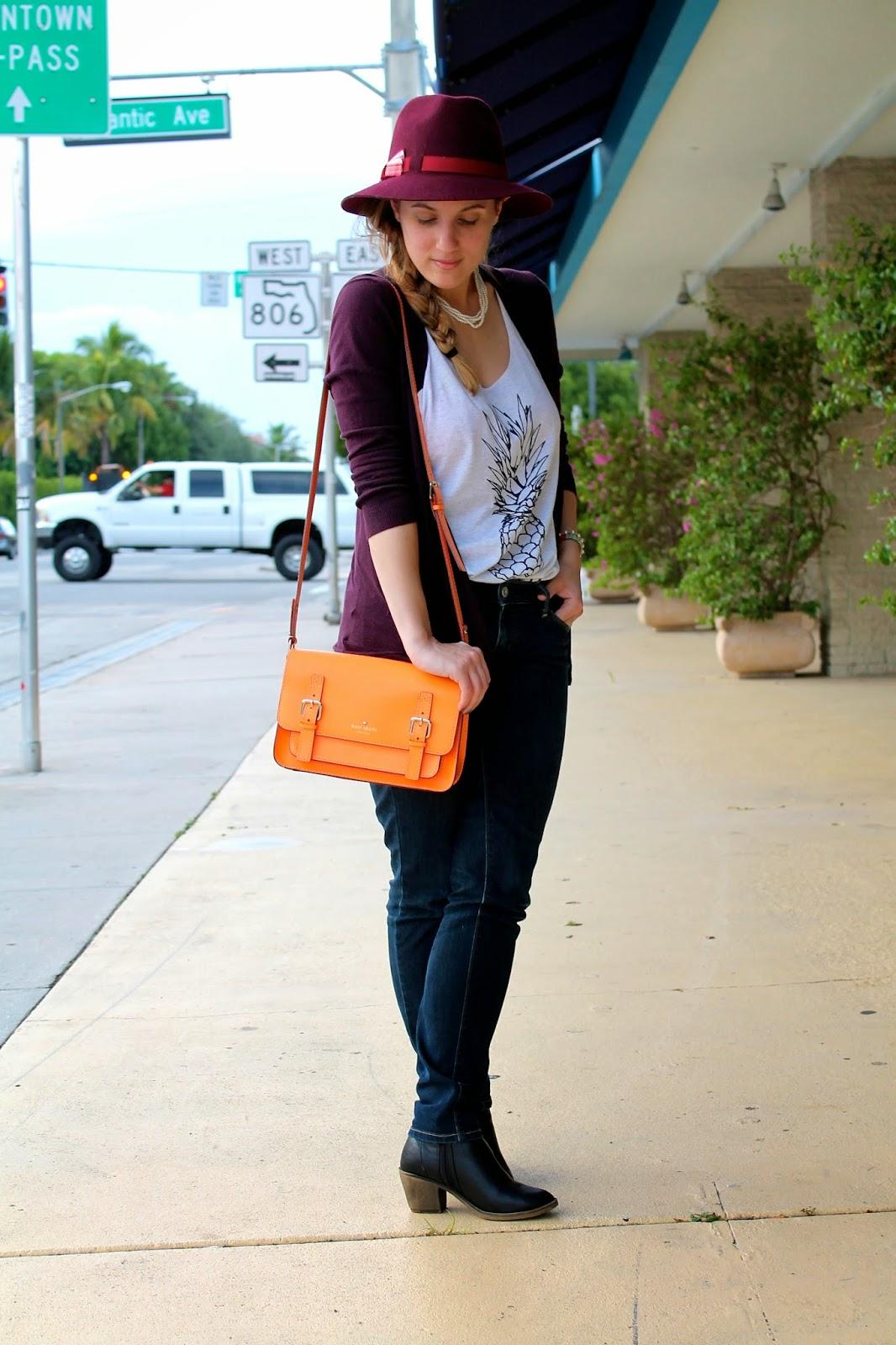 Bikini.com, Target, BCBG Maxazria, Levi's, Kate Spade, style, fashion, fashion blog, Miami fashion blogger, what I wore, tropical prints, look book, style blog, street style, burgundy, fedora
