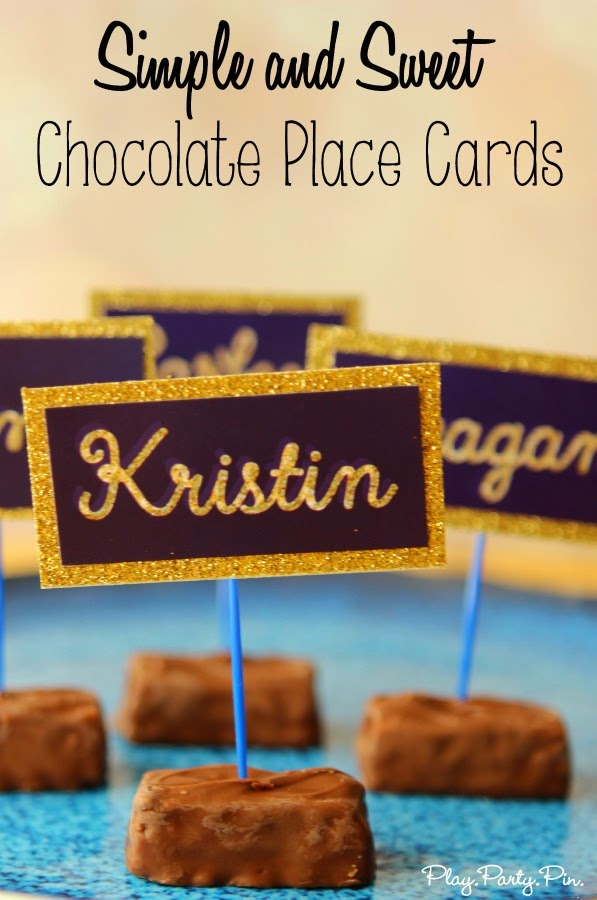 DIY Chocolate Place Cards, the sweetest place cards you'll ever see from playpartypin.com