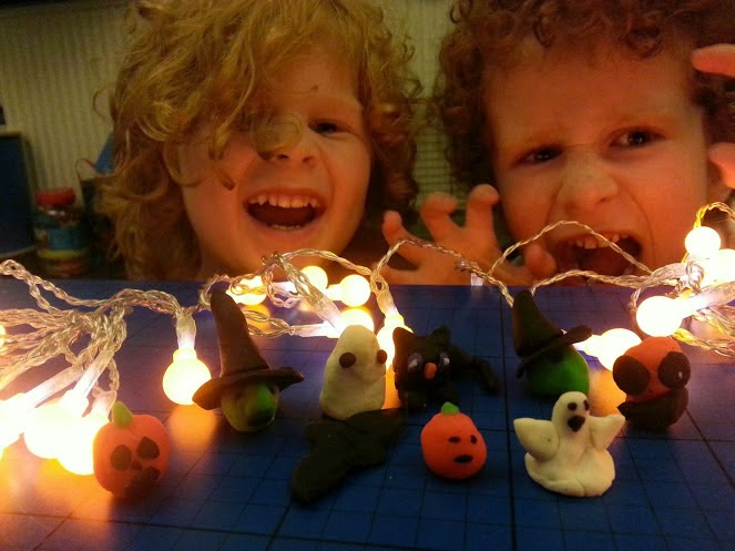 Play-Dough Halloween models and Pumpkin Berry Lights
