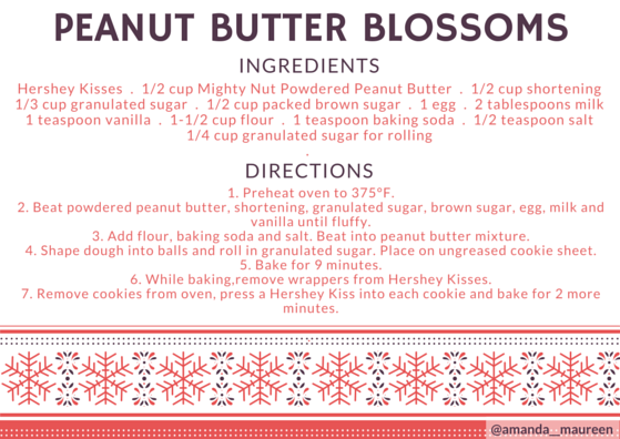 Recipe, Peanut Butter Blossoms, Printable Recipe Card, Holiday, Christmas