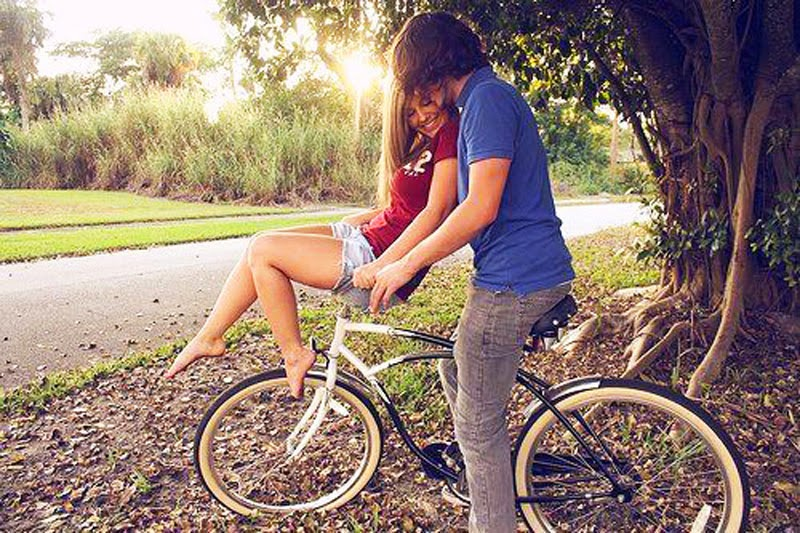 Cute Love Couple in Bike Photography