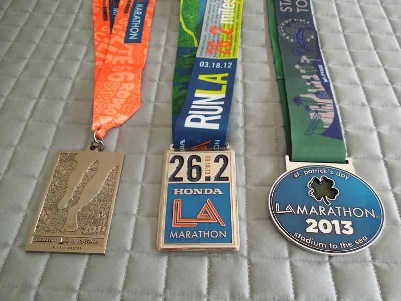 LA Marathon medals 2011-2013