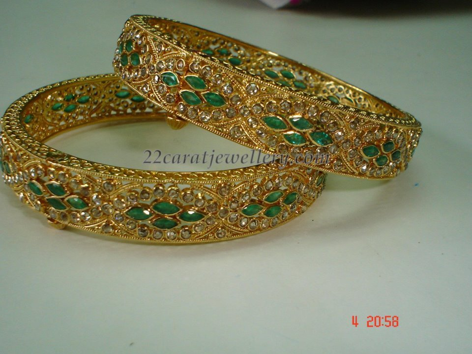 bangles diamonds emerald jewels with south india bangle rkr uncut antique gold diamond