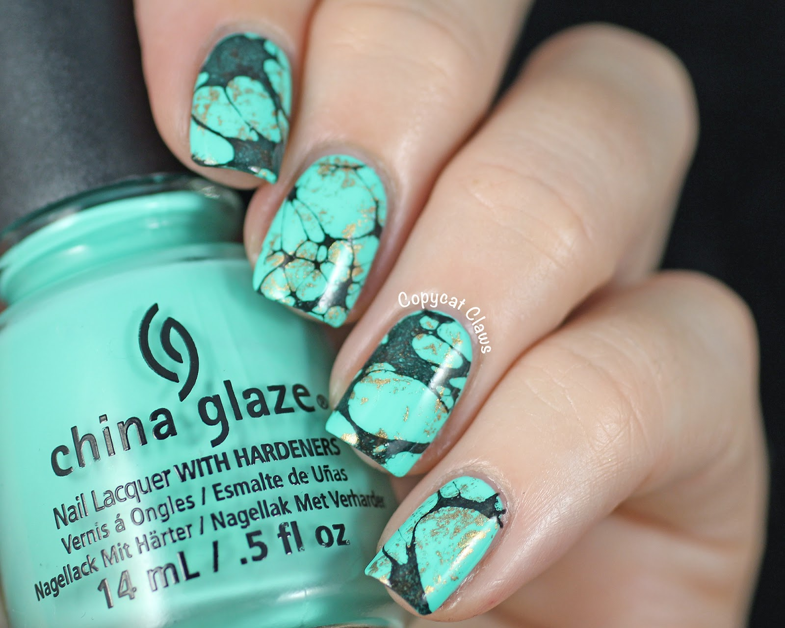 Copycat Claws Turquoise Stone Nail Art China Glaze Too Yacht To