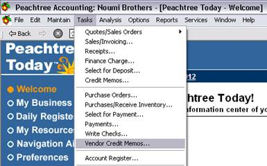 nouman how to enter credit memo in peachtree software